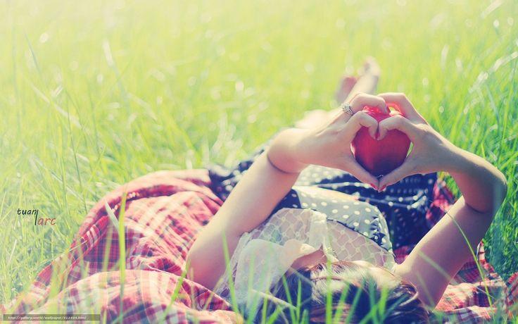 Download wallpaper Mood,  girl,  apple,  fruit free desktop wallpaper in the resolution 1680x1050 — picture №411404