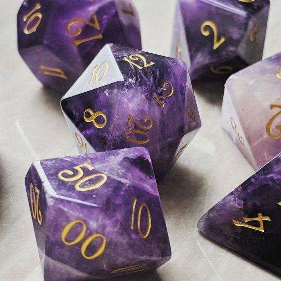 EngravedCarving for Dungeons /& Dragons Full Set Lavender Amethyst Gemstone DnD Dice Set RPG Game DND MTG Game
