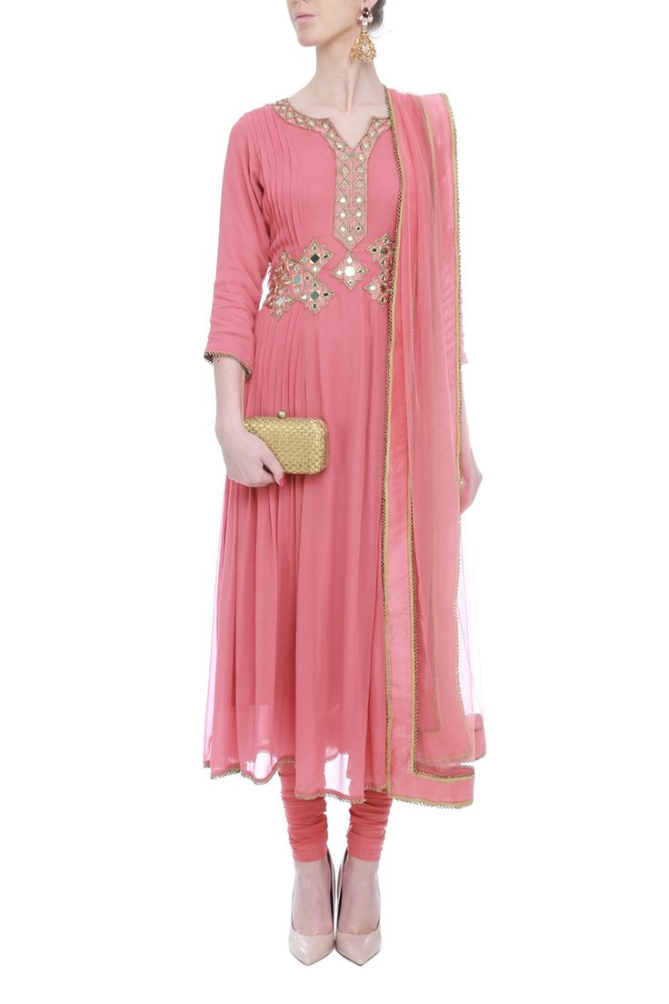 Onion Pink Pleated Mirrorwork Anarkali by Aashna Behl. Shop now: http://www.onceuponatrunk.com/designers/aashna-bhel #pink #mirror #floral #chunni #embroidery #ethnic #suit #shopnow #aashnabehl #fashion #stunning #elegant #indiandesignerwear #wedding #onceuponatrunk