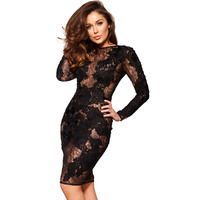 'Nolita'  Black Stretch Lace Long Sleeve Dress - Limited Edition
