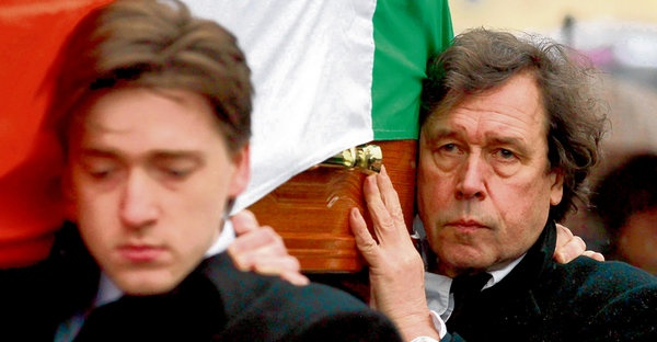 Actor Stephen Rea (right) helps carry the coffin of his ex-wife, republican Dolours Price, to Milltown Cemetery in Belfast. Price was one of the IRA bombers convicted of the 1973 attack on London's Old Bailey. photograph: reuters/cathal mcnaughton