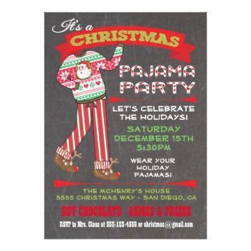 Chalkboard Christmas Pajama Party Invitations Super cute for the Holidays, this Christmas party is for adults or kids that have a pajama theme. Features Santa pj's and reindeer slippers, fun fonts and banners all on a chalkboard background. Hand drawn illustration by McBooboo's. Need help or a custom version of the invitation? Just email me at tkatz@me.com Charges may apply for custom.