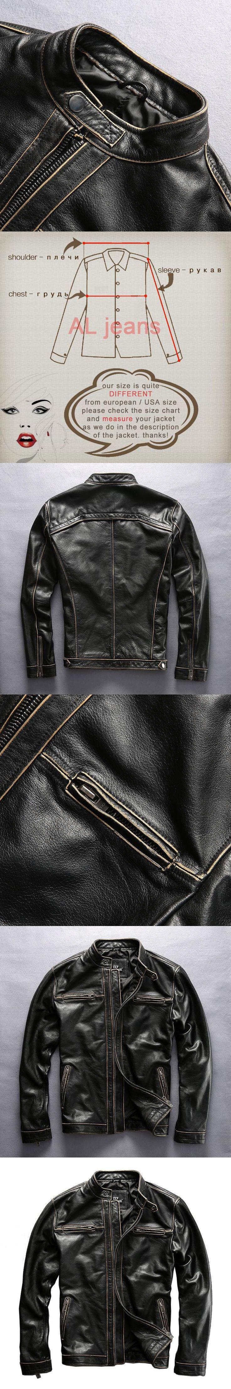 mens vintage genuine cow leather clothing short design cowhide motorcycle rider jacket