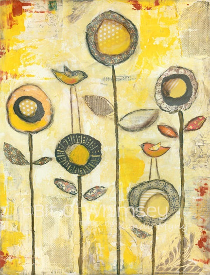 Orange Sherbet...8 x 10 print...from original mixed media painting and collage brown flower yellow. $20.00, via Etsy.