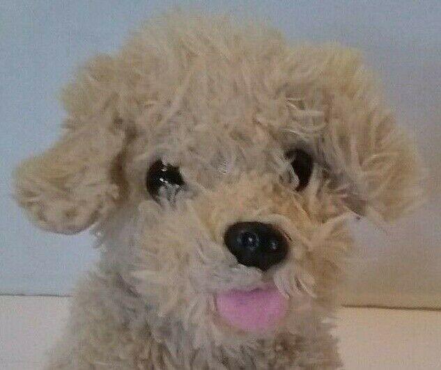 Shaggy Terrier Dog Bean Bag Toy Plush Stuffed 6 Toy Beige Tongue