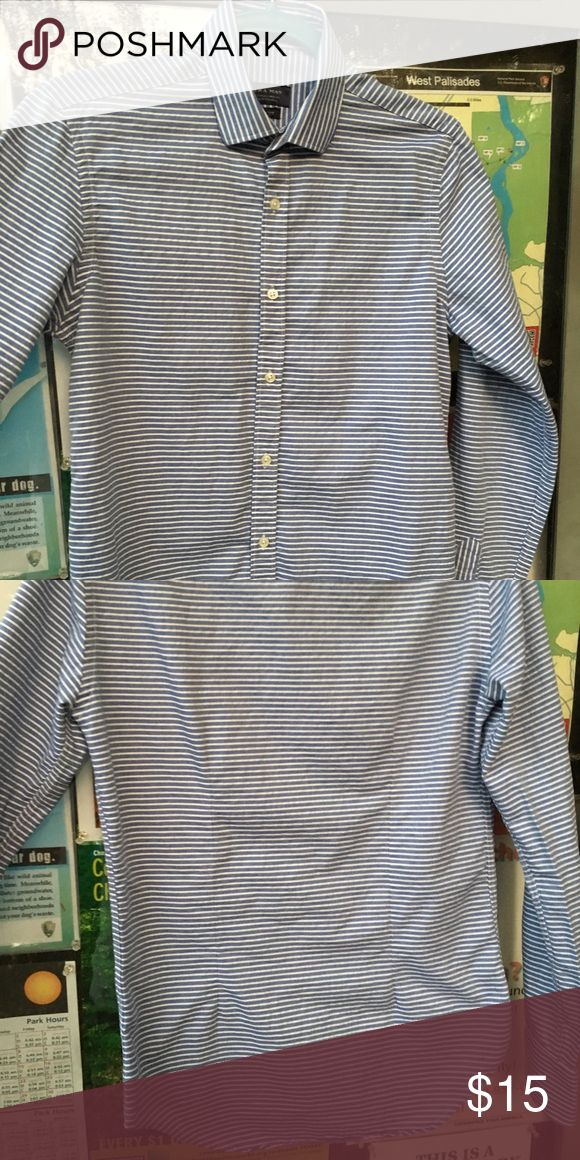 ZARA Men's Long-Sleeve Button-Up Shirt - SMALL Blue/white stripe throughout. Slim fit. Size: Small. Used but only worn a few times. Purchased at Zara flagship store on Oxford Street in London. Zara Shirts Casual Button Down Shirts