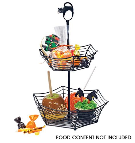 """Tiered serving stand for serving spooky sweets. Dismantles for easy storage. 10"""" L x 15 1/4"""" H. Iron."""