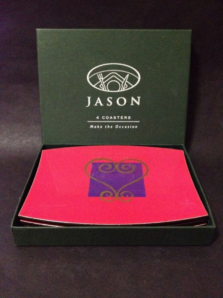"NEW - 4 x Jason Coasters in Box - ""Make the Occasion"" - Pink & Purple w/ Heart"