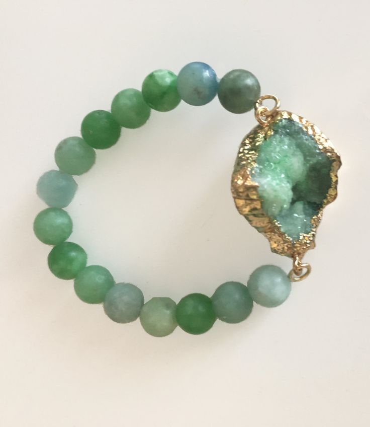 Green Natural Agate Crystal Druzy Beaded Stackable Stretch Bracelet trendy bracelet, statement bracelet, semiprecious stone jewelry, boho by BridgetGervaise on Etsy