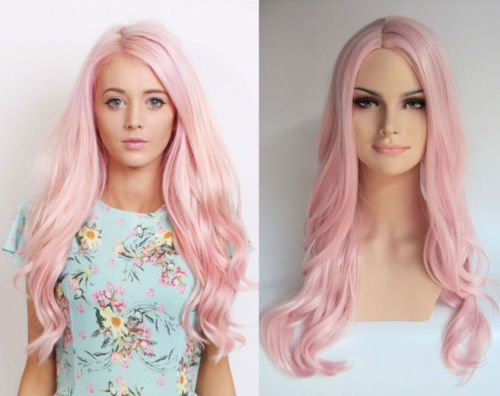 WOMENS-LONG-PASTEL-PINK-CURLY-HEAT-RESISTANT-FASHION-WIG