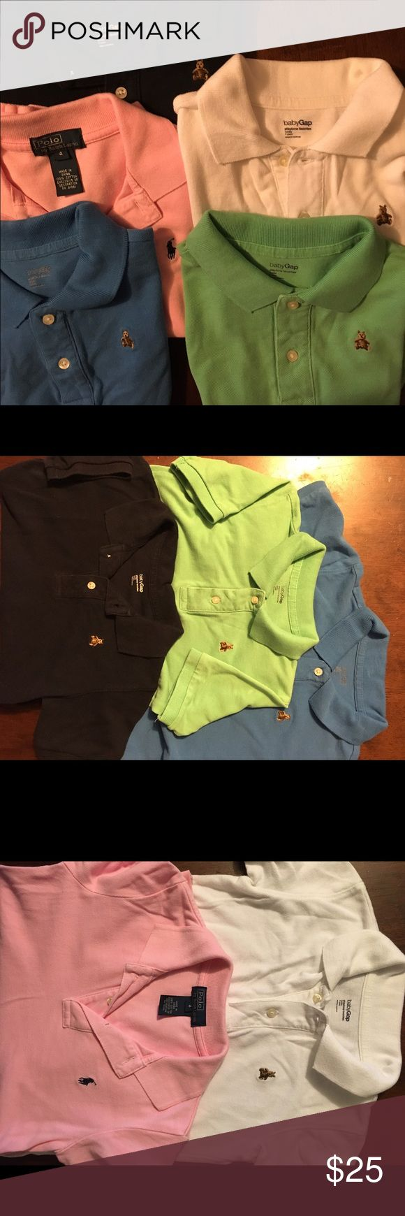 5 polo baby gap/Ralph Lauren shirts (size 5) Selling my son's polo style shirts that he has outgrown. All were purchased from gap/Macy's (Ralph Lauren) and not from an outlet. Normal fade/wash wear but in EUC w/o stains. Gap shirts (size 5)  are navy, royal blue, white, and Kelly green. The Ralph Lauren shirt is pink (size 4) with a navy horse embroidery. The gap shirts all have the brown teddy bear embroidery. Other items for sale that mix/match so bundle and save on shipping. GAP Shirts…