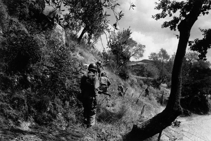 Near Troina. August 4th-5th, 1943. American soldiers on a reconnaissance mission to capture Troina, a strategically located hilltow... @RobertCapa