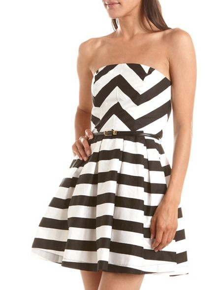 Belted Chevron Stripe Tube Dress: Charlotte Russe