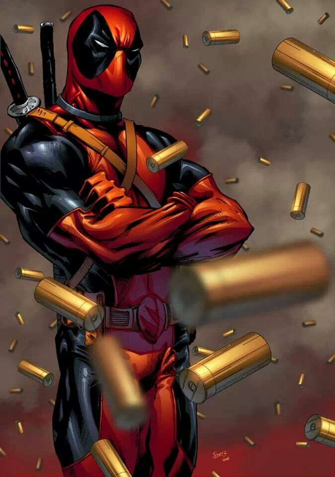 Deadpool just casually standing in the middle of a ton of bullets