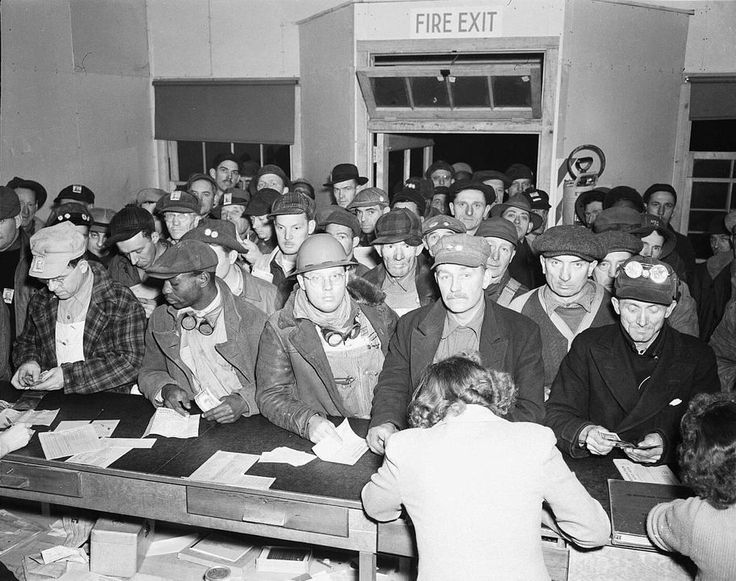 The Western Union office at Hanford was packed on a 1944 payday with men waiting to send money home. Other photos show the line stretching outside.  See where you can listen to first-hand accounts of the Manhattan Project on oral history website here.