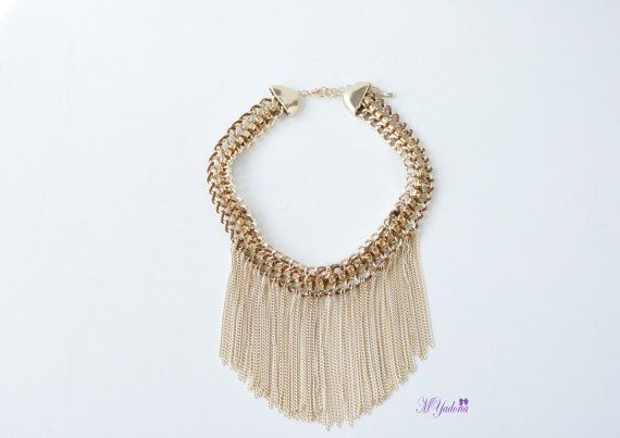Chunky Necklace  Gold Chain Tassel Necklace  Statement by MYadoria, $28.50