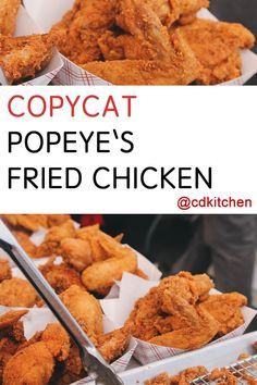 Copycat Popeye's Fried Chicken - Recipe is made with chicken, water, eggs, self-rising flour, cornstarch, seasoned salt, paprika, baking soda, Italian salad dressing mix, onion soup mix, spaghetti sauce mix, sugar, Corn flakes cereal |  CDKitchen.com