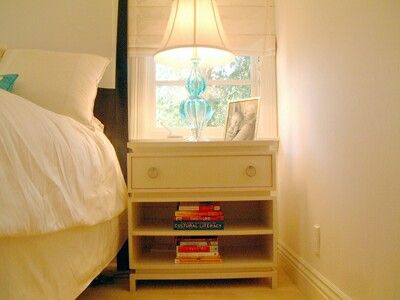 Our mid century inspired  lacquered side table and nightstand with storage.