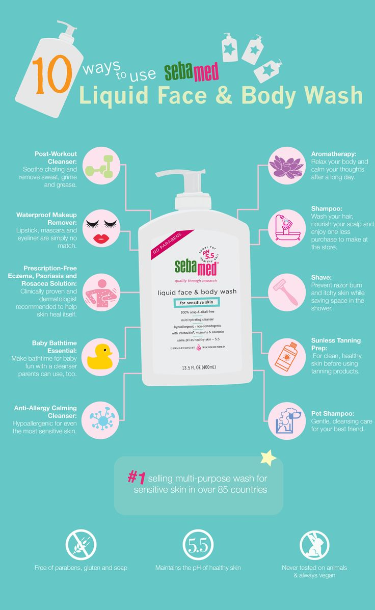 Sebamed Liquid Face and Body Wash cleans your hair, face, body, pet and kids in one easy product! Check out these 10 ways to use it.