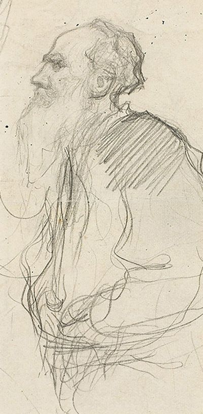 Leonid Pasternak, portrait of Tolstoy, charcoal on paper, late 1890's