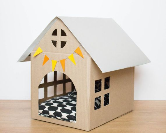Scandinavian style cardboard House for small dog or cat. Colours (flags and roof) and possibility of adding elements (CAT, dog, fireplace...