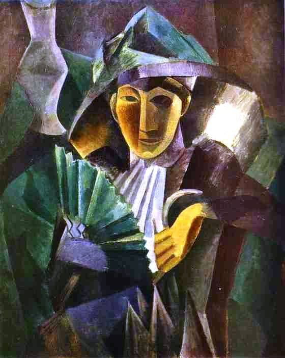 Pablo Picasso - Woman with a fan 1909 The creative period: Cubism                                                                                                                                                     Plus