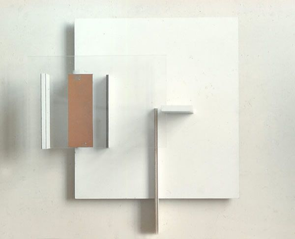 Abstract in White, Black and Ochre - Victor Pasmore