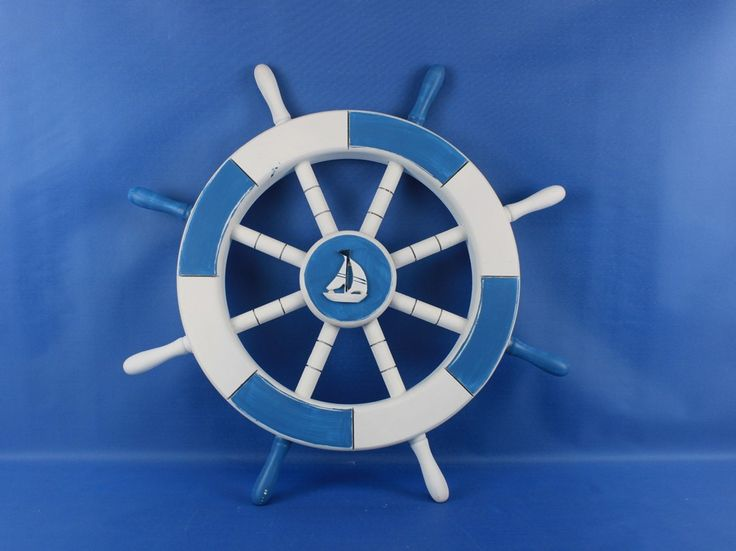 Light Blue and White Decorative Ship Wheel with Sailboat 18""