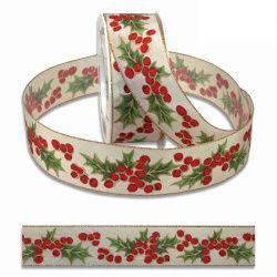 20 Meter Weihnachtsband, Geschenkband Ilex Bristol, 40 mm Bild 1