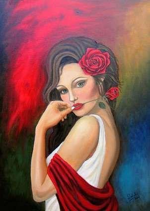 la mujer y la rosa.