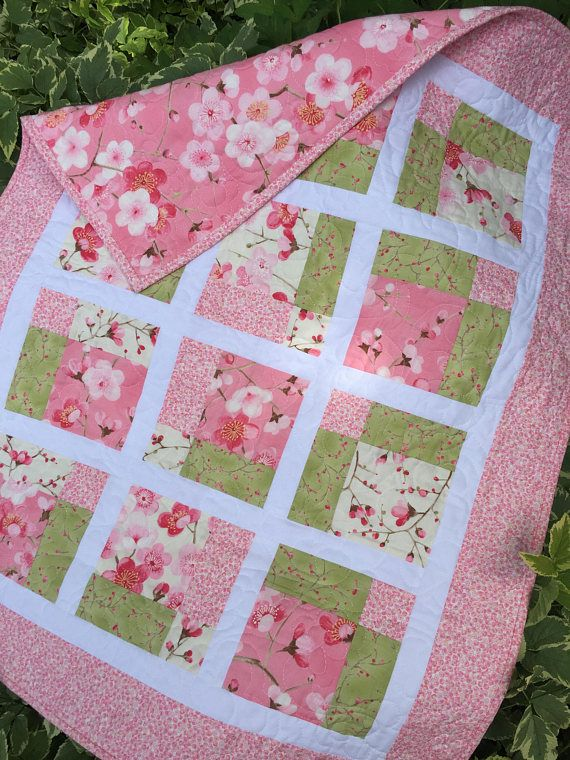Pink Baby Quilt Sakura Cherry Blossoms by Moda Baby Shower