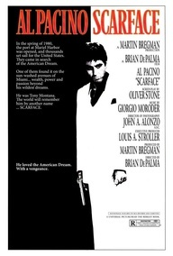 Scarface film poster, directed by Brian De Palma, starring Al Pacino. Film was released in 1983