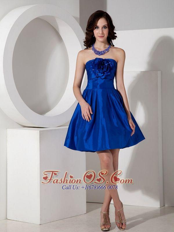 2432e5ecc5 Modest Royal Blue A-line Strapless Homecoming Dress Taffeta Hand Flowers  Mini-length http   www.fashionos.com http   www.facebook.com quinceanera…