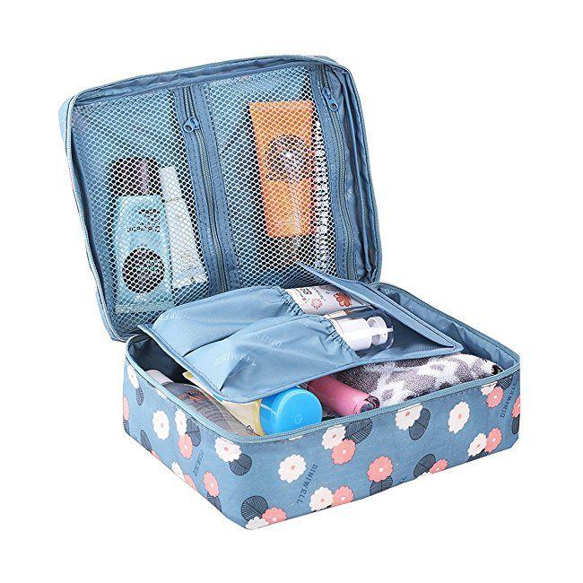 HiDay Floral Print Cosmetic Makeup Bag Travel Toiletry