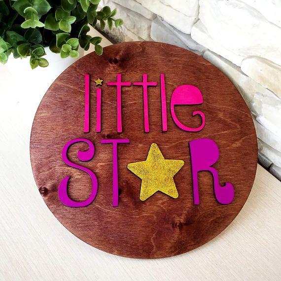 Wood Poster Round Shape Little Star Unfinished form for