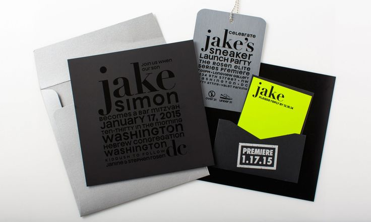 This Bar Mitzvah set combines a matte, black plastic invitation with a metal party card and a neon paper rsvp card. A fun pocket holds it all together with the party date stamped on top.