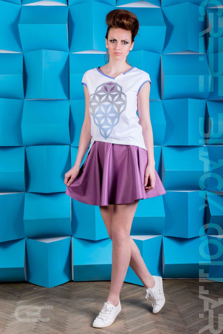 Asymmetric white Tshirt with blue, grey and purple geometric flowers. Flared purple skirt with pockets. Order via facebook, pm or e-mail.