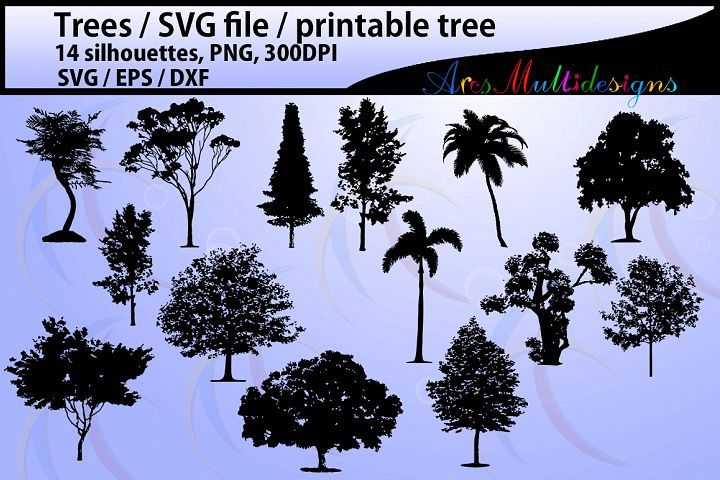 SVG Trees, printable, sillhouette, png, eps, illustrator, vector, trees, oak tree, palm tree, outline, shape, black tree