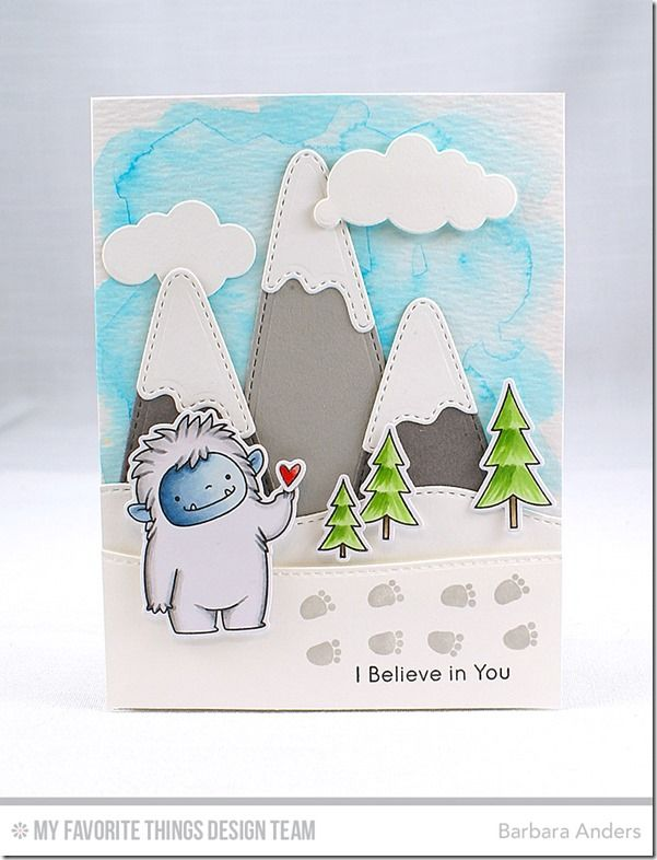 Beast Friends Stamp Set and Die-namics, Snow-Capped Mountains Die-namics, Stitched Snow Drifts Die-namics, Puffy Clouds Die-namics - Barbara Anders  #mftstamps