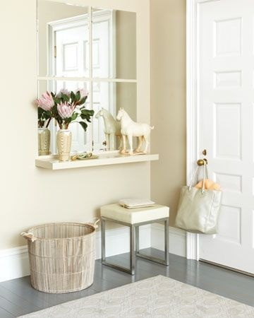 Floating Entryway Table: (Photo 4)   This is the best solution for anyone with a small or narrow entryway. It may be lean, but it'll hold many of the things you need from an entryway table like keys, mail, gadgets, and bags or wallets. Add even more function by getting one with a drawer to hide clutter.: Decor Ideas, Entryway Ideas, Floating Shelves, Window, Consoles Tables, Front Doors, Martha Stewart, Small Entryway, Small Spaces