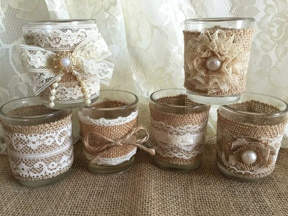 6 rustic naturlap burlap and lace covered votive tea candles