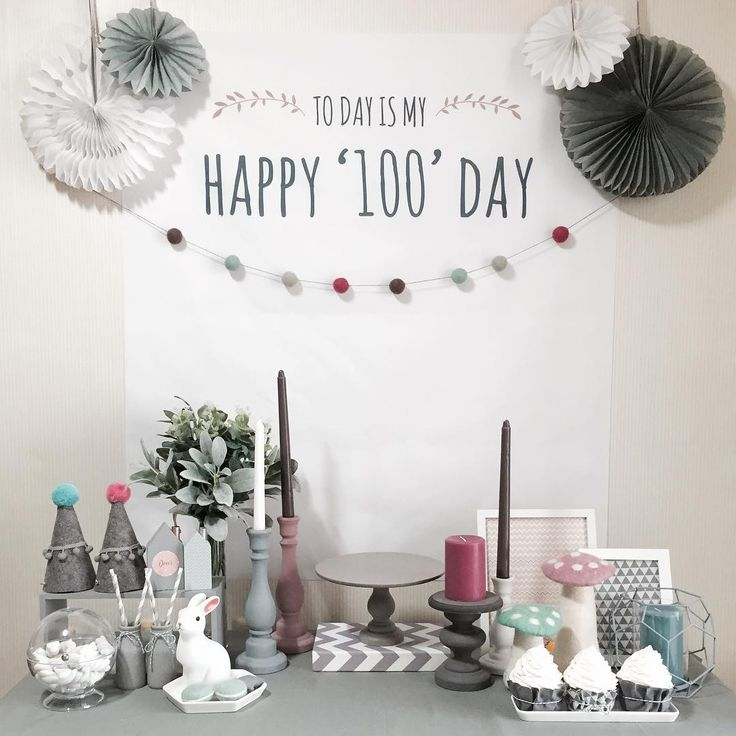 Happy 100 Days baby party table 백일 토끼조명