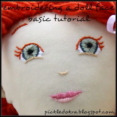 How to embroider a doll's face. Step by step tutorial with lots of pictures.