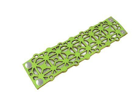 "Green Geometric Square & Dot Pattern Laser Cut Leather Bracelet Erica Zap Designs. $38.00. 2.25"" Width. Snap Closure. Laser Cut Pattern. 7.25"" Length. 100% Genuine Italian Leather"