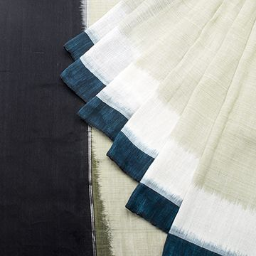 Linen- Light Olive w Black border ; Paithani Parrot pall w Silver sari ; black blouse.