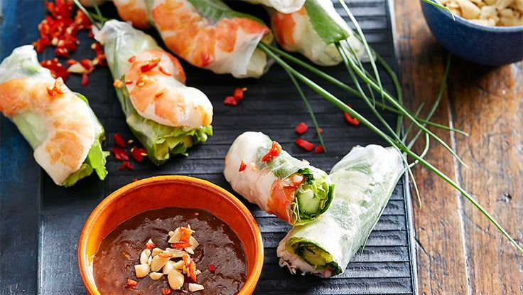 Prawn and herb rice paper rolls