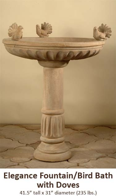 Elegance Fountain/Bird Bath with Doves