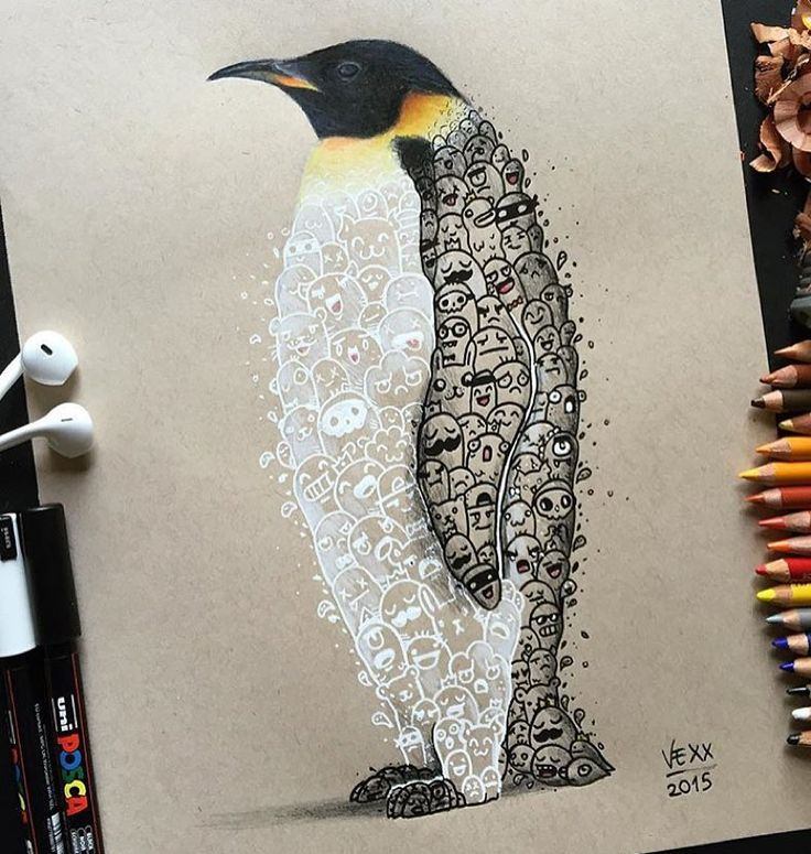 Unique style penguin drawing by @vexx_art by art_realisme