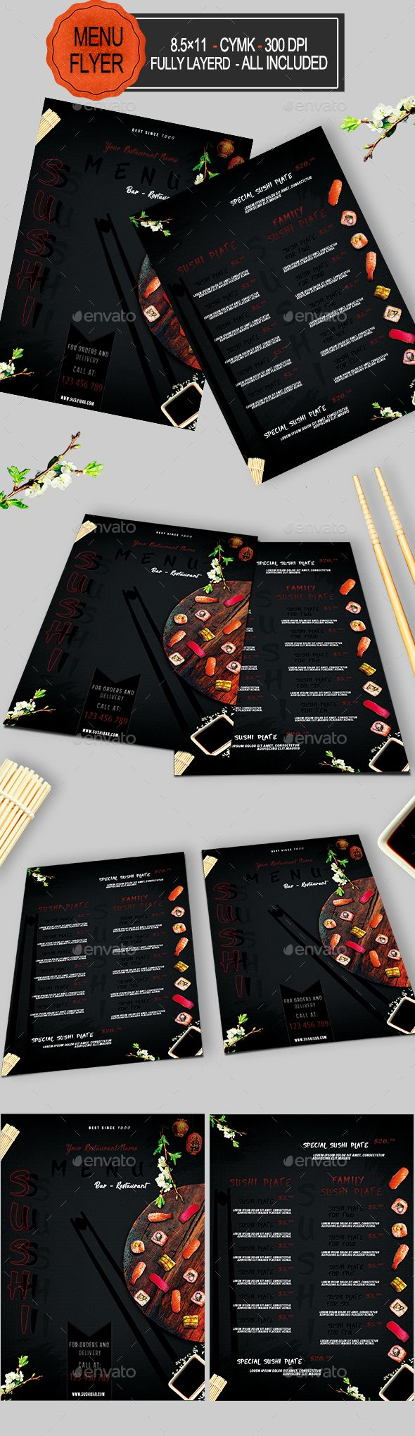 Sushi Menu Template PSD