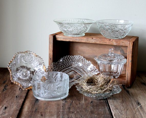 Wedding Dessert Candy Bar Buffet Table Vintage Clear Glass Dish Dishes Bowls Decor Serving Table Setting